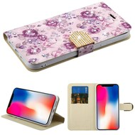 Luxury Bling Portfolio Leather Wallet Case for iPhone XR - Fresh Purple Flowers