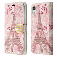Luxury Bling Portfolio Leather Wallet Case for iPhone XR - Eiffel Tower