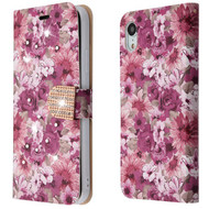 Luxury Bling Portfolio Leather Wallet Case for iPhone XR - Summer Blossom
