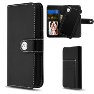 2-IN-1 Premium Leather Wallet with Removable Magnetic Case for iPhone XR - Black
