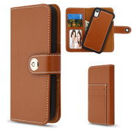 2-IN-1 Premium Leather Wallet with Removable Magnetic Case for iPhone XR - Brown