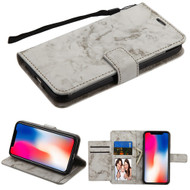 Marble Essential Leather Wallet Stand Case for iPhone XR - Grey