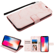 Marble Essential Leather Wallet Stand Case for iPhone XR - Pink