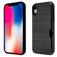 ID Card Slot Hybrid Case for iPhone XR - Black