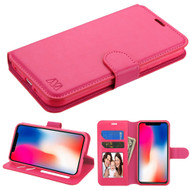 Book-Style Leather Folio Case for iPhone XR - Hot Pink