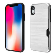 ID Card Slot Hybrid Case for iPhone XR - Silver