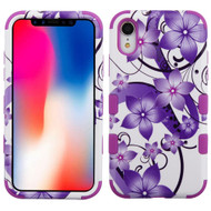 Military Grade Certified TUFF Hybrid Armor Case for iPhone XR - Purple Hibiscus Flower