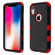 Military Grade Certified TUFF Hybrid Armor Case for iPhone XR - Black Red