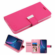 Xtra Series Essential Leather Wallet Stand Case for iPhone XR - Hot Pink
