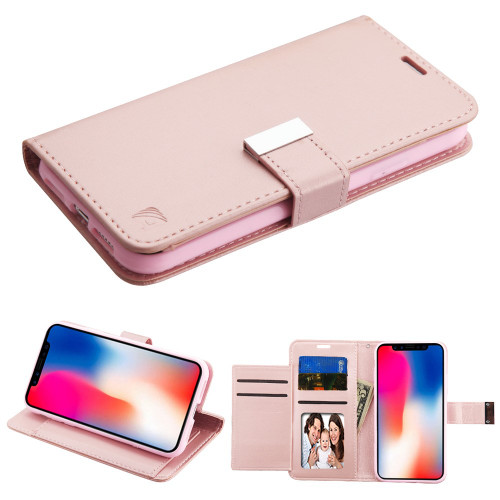 Essential Leather Wallet Stand Case For Iphone Xr Rose