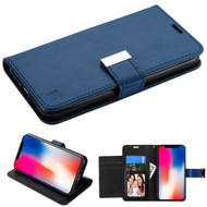 Essential Leather Wallet Stand Case for iPhone XR - Navy