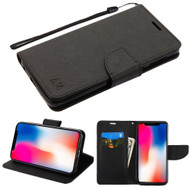 Diary Leather Wallet Stand Case for iPhone XR - Black