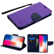 Diary Leather Wallet Stand Case for iPhone XR - Purple Navy Blue