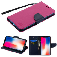 Diary Leather Wallet Stand Case for iPhone XR - Hot Pink Navy Blue