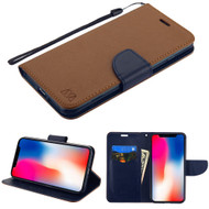 Diary Leather Wallet Stand Case for iPhone XR - Brown Navy Blue