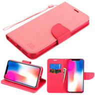 Diary Leather Wallet Stand Case for iPhone XR - Pink