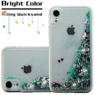 Quicksand Glitter Transparent Case for iPhone XR - Teal Green