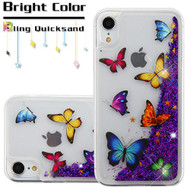 Quicksand Glitter Transparent Case for iPhone XR - Butterfly Dancing