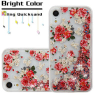 Quicksand Glitter Transparent Case for iPhone XR - European Rose