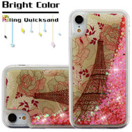 Quicksand Glitter Transparent Case for iPhone XR - Eiffel Tower