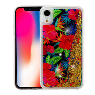 Quicksand Glitter Transparent Case for iPhone XR - Electric Hibiscus