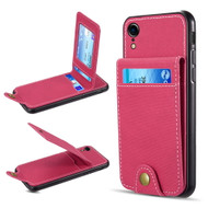Saffiano Scratchproof Leather Wallet Card Case for iPhone XR - Hot Pink
