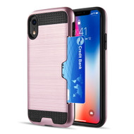 ID Card Slot Hybrid Case for iPhone XR  - Rose Gold