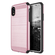 Brushed Texture Armor Anti Shock Hybrid Case for iPhone XR - Rose Gold