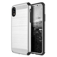 Brushed Texture Armor Anti Shock Hybrid Case for iPhone XR - Silver