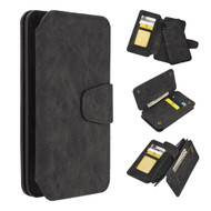 3-IN-1 Luxury Coach Series Leather Wallet with Detachable Magnetic Case for iPhone XR - Black