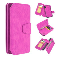 3-IN-1 Luxury Coach Series Leather Wallet with Detachable Magnetic Case for iPhone XR - Hot Pink