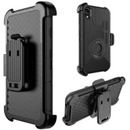 Anti-Shock Heavy Duty Hybrid Case with Holster for iPhone XR - Black