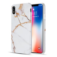 Marble TPU Case for iPhone XR - White Gold