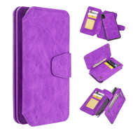 3-IN-1 Luxury Coach Series Leather Wallet with Detachable Magnetic Case for iPhone XR - Purple