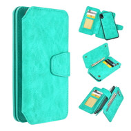 3-IN-1 Luxury Coach Series Leather Wallet with Detachable Magnetic Case for iPhone XR - Teal