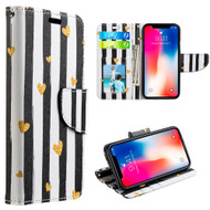 Designer Graphic Leather Wallet Stand Case for iPhone XR - Chic Hearts
