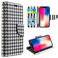 Designer Graphic Leather Wallet Stand Case for iPhone XR - Houndstooth