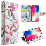 Designer Graphic Leather Wallet Stand Case for iPhone XR - Rosy Aroma