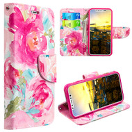 Designer Graphic Leather Wallet Stand Case for iPhone XR - Watercolor Floral