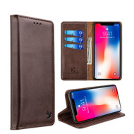 2-IN-1 Luxury Magnetic Leather Wallet Case for iPhone XR - Brown