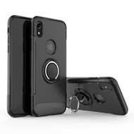 Carbon Edge Sports Hybrid Armor Case with Ring Holder for iPhone XR - Black