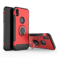 Carbon Edge Sports Hybrid Armor Case with Ring Holder for iPhone XR - Red