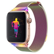 Magnetic Stainless Steel Mesh Strap Watch Band for Apple Watch 44mm / 42mm - Iridescent Rainbow