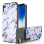 Under Cover Card Slot Case for iPhone XR - Marble White