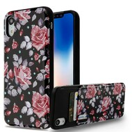 Under Cover Card Slot Case for iPhone XR - Rose Black