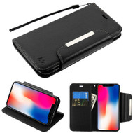 Designer Leather Wallet Shell Case for iPhone XR - Black