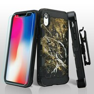 Military Grade Certified Storm Tank Hybrid Case with Holster and Tempered Glass Screen Protector for iPhone XR - Tree Camouflage