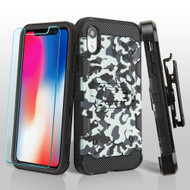 Military Grade Certified Storm Tank Hybrid Case with Holster and Tempered Glass Screen Protector for iPhone XR - Camouflage