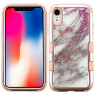 Military Grade Certified TUFF Hybrid Armor Case for iPhone XR - Marble Rose Gold