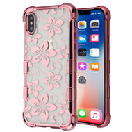 TUFF Klarity Electroplating Transparent Anti-Shock TPU Case for iPhone XS / X - Hibiscus Flower